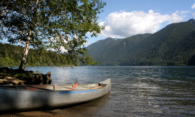 Canoe on the shores of Crescent Lake in Olympic National Park