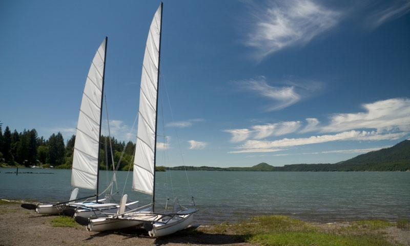 Two Sailboats on Lake Quinault in Olympic National Park