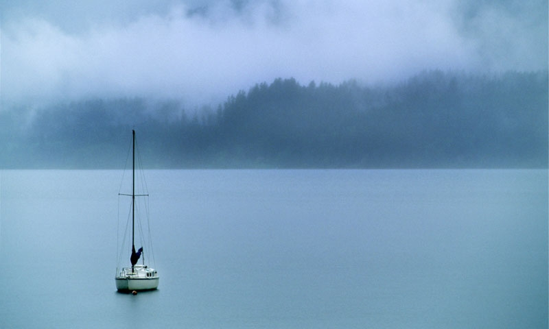 Sailboat on Lake Quinault in Olympic National Park