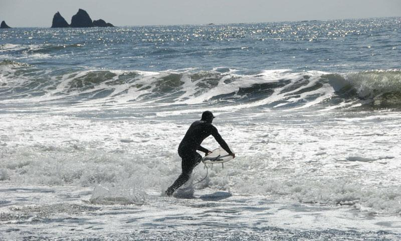 Surfing at La Push in Olympic National Park